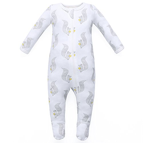Baby Unisex Layette (Owlivia Organic Cotton Baby Boy Girl Zip Front Sleep 'N Play, Footed Sleeper, Long Sleeve (Size 0-18 Month)(0-3Months,Squirrel))