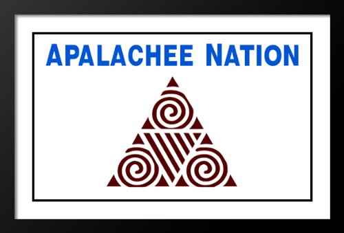 Native American Apalachee Nation Flag Wood 20x23 Framed and Double Matted - Pictures Apalachee