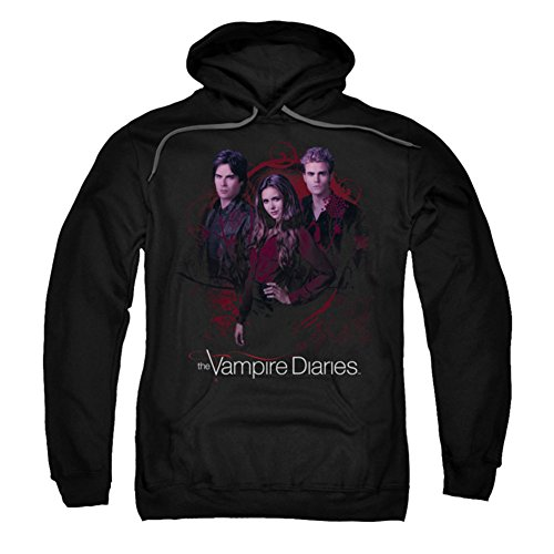 Trevco Adult Vampire Diaries Company of Three Pull Over Fleece Hoodie XXX-Large Black