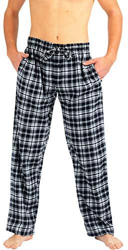 (NORTY - Mens Brushed Cotton Flannel Plaid Sleep Lounge Pajama Pant, Black, White 40773-Medium)