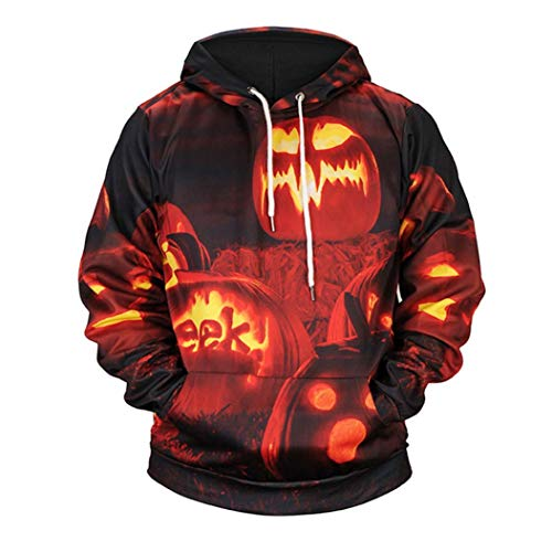 kaifongfu Hoodie for Men,Scary Halloween Top with Pumpkin 4D Print Party Long Sleeve Blouse(Orange,2XL)