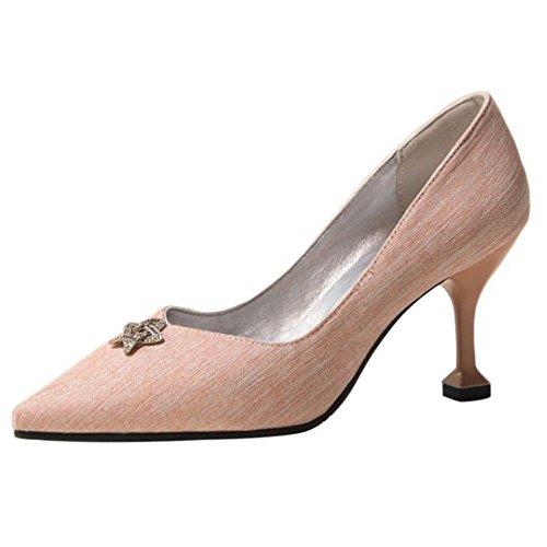 Women AicciAizzi Toe Pointed Pumps Pink Heel High drwIqxBr