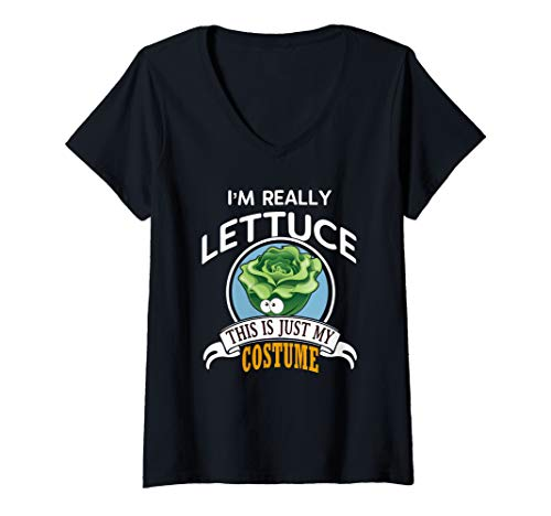 Womens Lettuce Halloween Costume This Is Just My Costume V-Neck T-Shirt