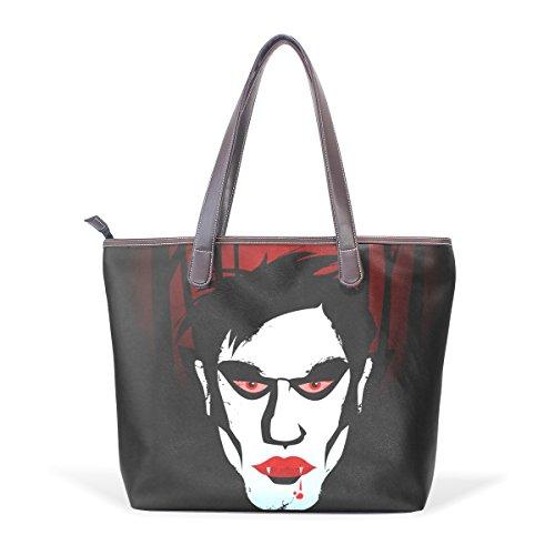 di COOSUN cm elaborazione spalla di maniglia L grandi della Tote di Halloween Tote muticolour a Bag borse di Party dell'unità dimensioni del Vampire stampa delle cuoio 33x45x13 4q4rn8H