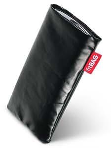 fitBAG Swing Black funda para Sony Ericsson W580W580i. Brillante Faux Piel con forro de microfibra para la limpieza de pantalla