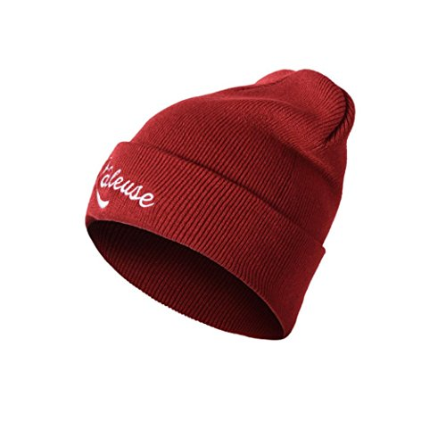 Women Letter Hat Wool Knitted Wine Red - 2