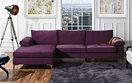 DIVANO ROMA FURNITURE Modern Large Velvet Fabric Sectional Sofa, L-Shape Couch with Extra Wide Chaise Lounge (Purple)