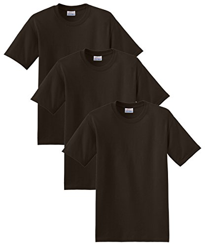 Hanes Men's 3 Pack ComfortBlend Short Sleeve T-Shirt, Dark Chocolate Heather, - Discount Quick Fit Code