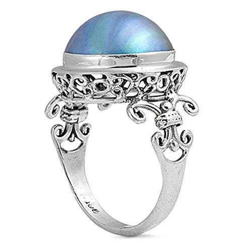 Black Mabe Pearl - 18mm Sterling Silver BALI CROWN BLACK MABE PEARL Ring 5-10