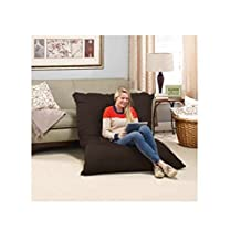 Big Bean Bag Chair Pillow Lounger LARGE OVERSIZED Full Body Lounging Pillow is Generously Filled With Memory Foam Micro-Cushions that Won't Go Flat - Zippered, Washable Cover made with Durable Polyester Knit Fabric by Novaform