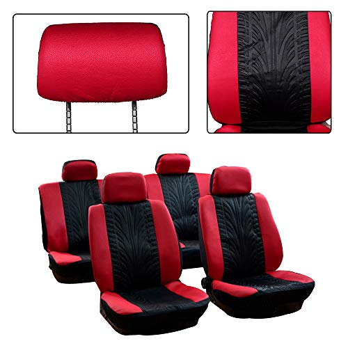 SCITOO Universal Black/Red Car Seat Cover w/Headrest Covers 8PCS Breathable Embossed Cloth Retractable Auto Seat Cover Replacement for Most Cars
