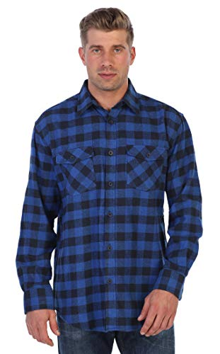 Stripe Blue Ls Shirt - Gioberti Men's Plaid Checkered Brushed Flannel Shirt, Checkered Black/Blue, Size X-Large