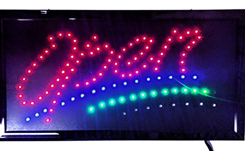 LED Open Sign On/off with Chain High Visible Bright Colors Led Moving Flashing Animated Neon Sign Motion Light 19x10 (OPEN2)