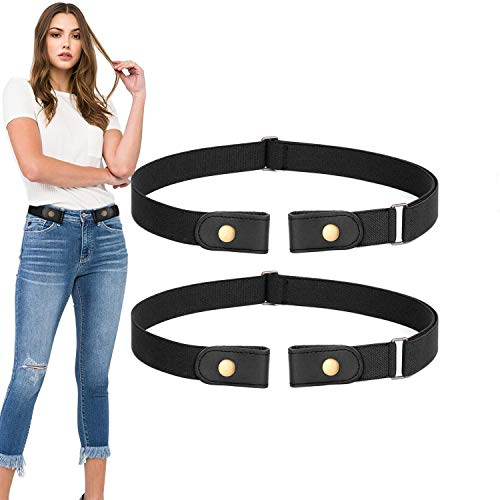2 Pack No Buckle Stretch Belt For Women Men Elastic Waist Belt Up to 70 Inch for Jeans Pants,Black,Pants Size 34-48 ()