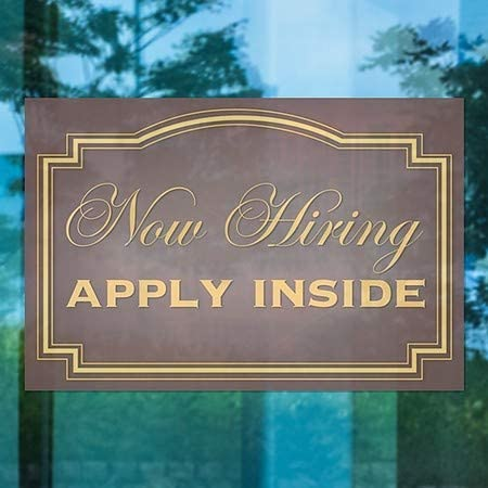 5-Pack Classic Brown Window Cling CGSignLab Now Hiring Apply Inside 27x18