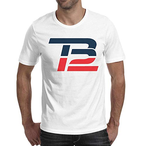 Men's Short Sleeve Cotton Tshirts Crew Neck Tb12 Logos Funny Top from TablincoT