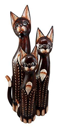 "Balinese Wood Handicraft Large 38/""H Feline Cat /& Kitten Family Figurine Set of 5"