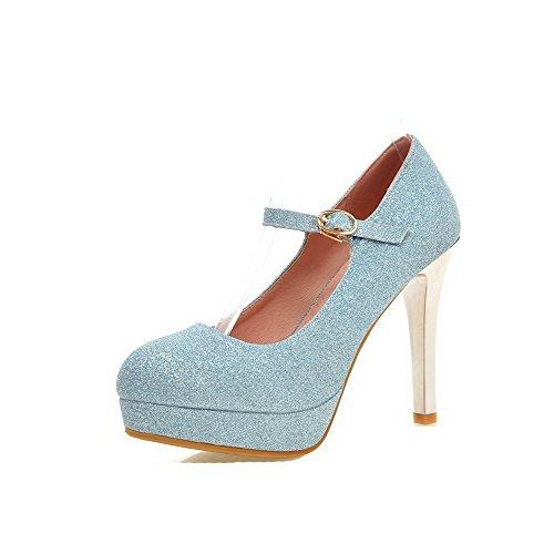 VogueZone009 Damen Weiches Material Rund Zehe Hoher Absatz Schnalle Rein Pumps Schuhe Blau