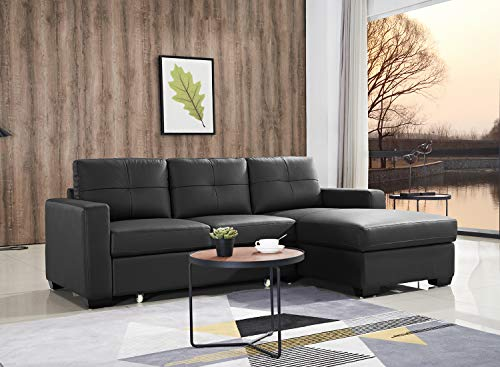 FUNRELAX Sectional Corner Sofas Furniture Sofa Set with Chaise L Shape Upholstered Sectional Couch Combined Furniture Sofa for Living Room in Black,Right Facing(Queen-Seater+2-Seater -