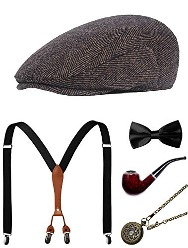 (1920s Mens Accessories Gatsby Gangster Costume Accessories Set Manhattan Fedora Hat Suspenders Bow Tie Pocket Watch)