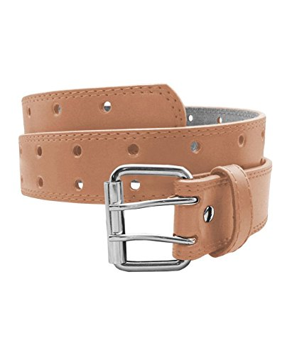 EURO Womens Thick Wide 2 Hole Leather Belt - BN9041 - Peach XL