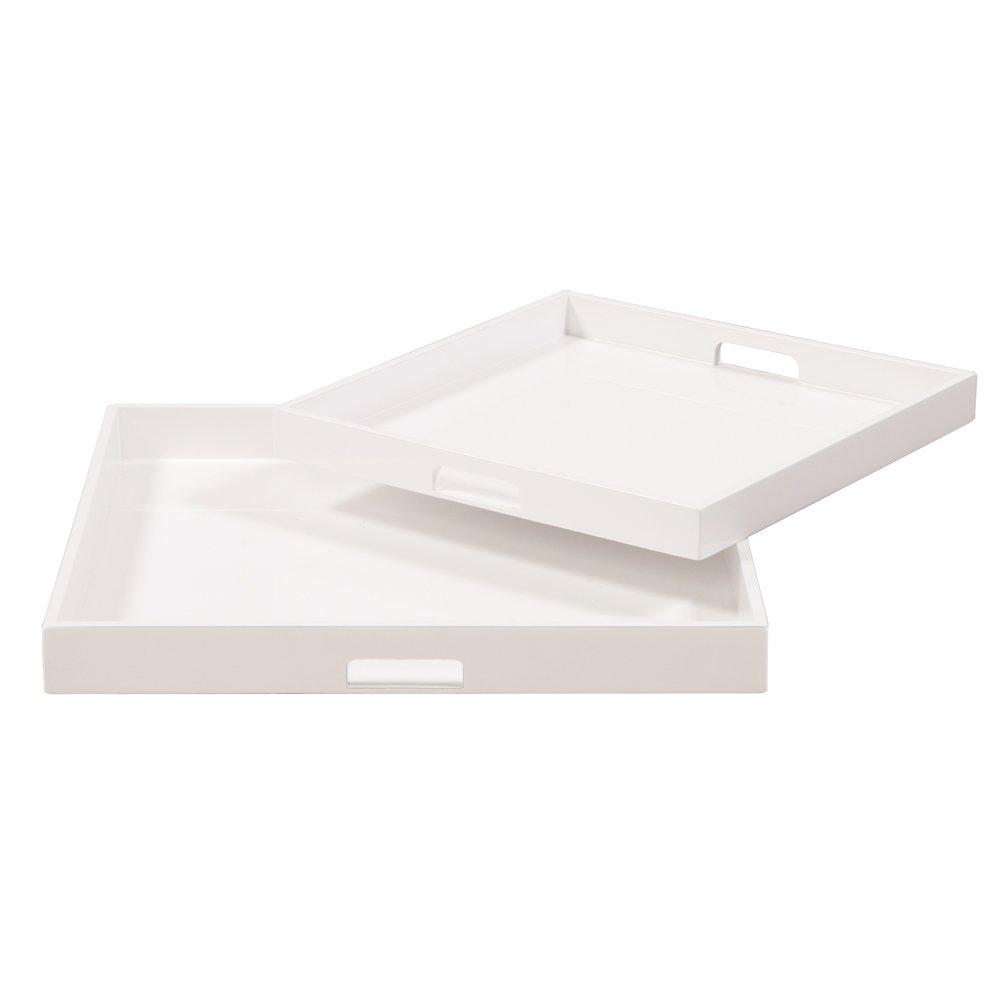 Howard Elliott 83024 Lacquer Square Wood Tray Set, White