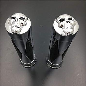 HTT Group Motorcycle Skull style Hand Grips 1 Handlebar fit for Harley XL 883 Hugger Sportster Cruiser Black