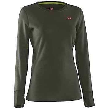 3824e0030 Under Armour UA Treestand Base Crew Top - Women's Rifle Green / Perfection  Small