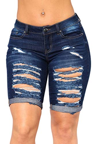 Distressed Spandex Shorts - FEESON Women's Summer Turn Up Cuffs Above-Knee Length Destroyed Ribbed Jeans Shorts Dark Blue