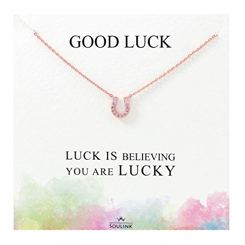 (Soulink Sparkling Lucky Horseshoe Necklace (Rose Gold))