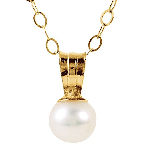 (JewelryWeb 14k Yellow Gold 8.5x4.25mm Polished Youth Cultured Pearl Pendant and Ch and Pkg)