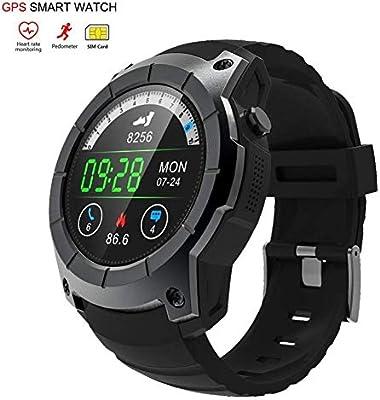 OOLIFENG Reloj Inteligente, Corriendo Relojes con GPS, Pulsómetros, Brújula, Deportes Podómetro para iOS Android,Black