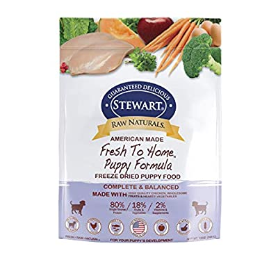 Stewart Raw Naturals Freeze Dried Puppy Food Grain Free Made in USA with Chicken, Fruits, & Vegetables for Fresh To Home All Natural Recipe, 12 oz.