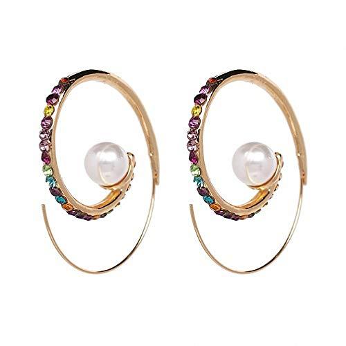 Metal Hoop Earring Special Bohemia Simulated Pearl Earrings Women Rhinestone Earrings ()