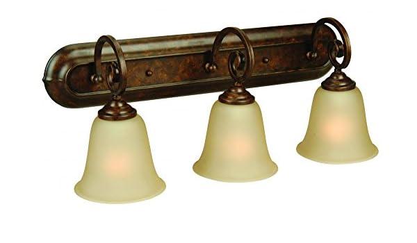 Jeremiah 7123pr3 Cecilia 3 luz lámpara de tocador con ámbar Frost ...