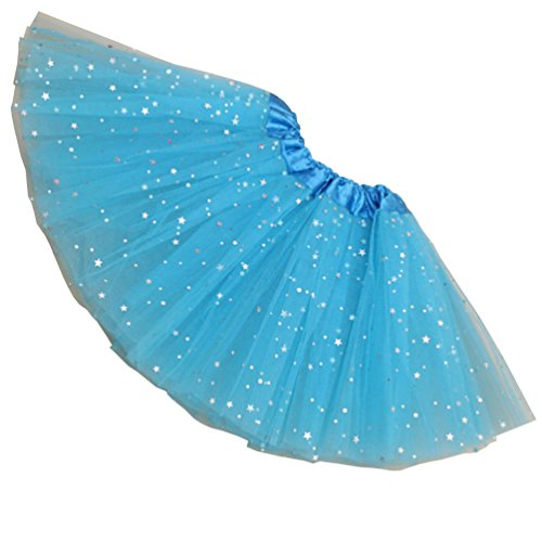 Rysly Girls Sparkle Tutus Princess Ballet Dance Layered Tulle Tutu Skirts,2-8T Water Blue