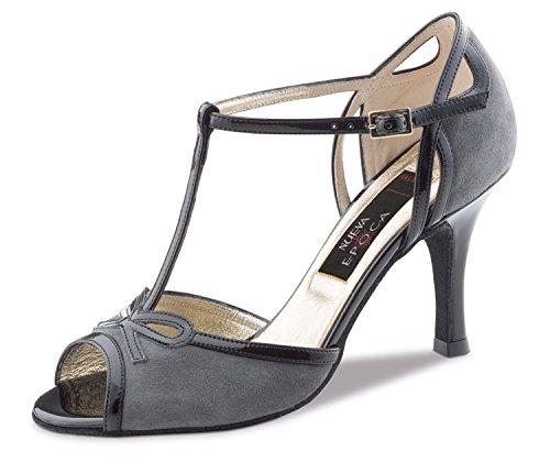 Nueva Epoca-Alexia Chaussures de tango/salsa danse femme-cuir gris/noir-6cm