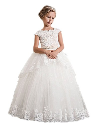 Kauste Lace Flower Girls Dress Girls First Communion Dress Princess Wedding FB011 -