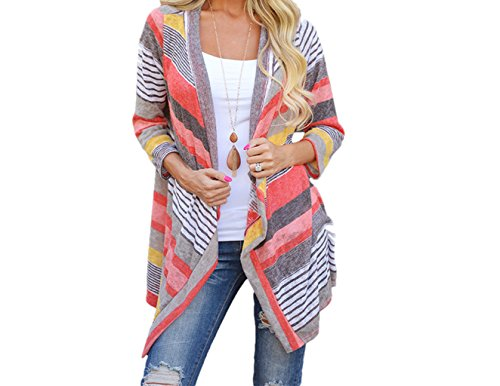 [Beautyvan, Women Irregular Stripe Shawl Kimono Cardigan Tops Cover Up Blouse (S, Pink)] (S Costume Ideas For Women)
