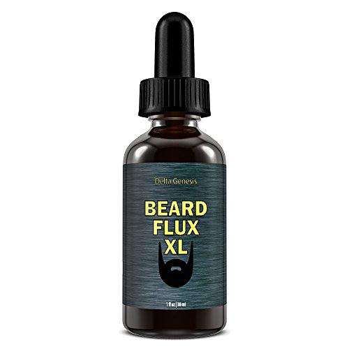 Beard Flux XL | Caffeine Beard Growth Stimulating Oil for Facial Hair Grow | Fuel Healthy Growth | Fragrance Free Beard Oil (Best Beard Growth Serum)