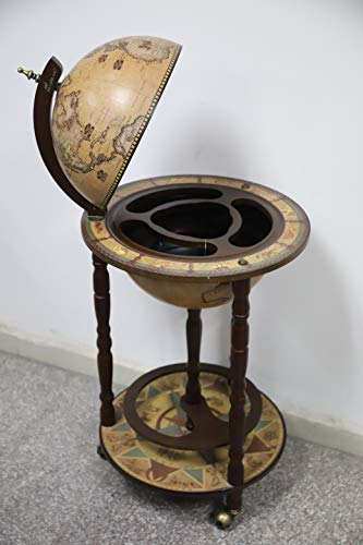 (HAITRAL Globe Bar Stand 16th Century Italian Wine Cabinet Wood with Wheels )