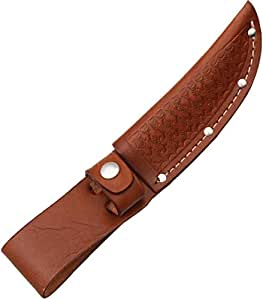 Sheath Fixed Knife Sheath, Brown basketweave leather,Fits up to 4in blade