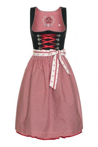 Midi Dirndl 65er schwarz-rot karo Rosamunde