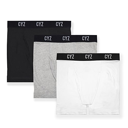 CYZ Men's 3-PK Cotton Stretch Boxer Briefs-BlackGreyWhite-XL