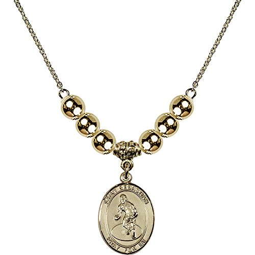 18-Inch Hamilton Gold Plated Necklace with 6mm Gold Filled Beads and Saint Sebastian/Wrestling Charm by Bonyak Jewelry