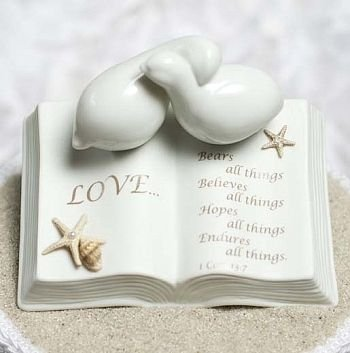 STARFISH BEACH Porcelain Love Verse Bible with Doves and STARFISH BEACH Accents Wedding Cake Topper ()