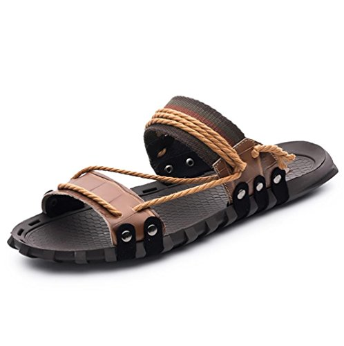 W&XY Leather Sandals Summer Mens XL with anti-slip shower bath slippers 39