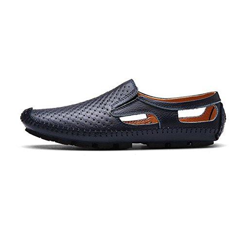 Men's Blue 2018 amp; HUAN Shoes Black Brown for ONS Summer Blue Slip Comfort Loafers Outdoor Shoes Leather Driving TggUw
