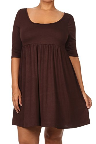 [Pastel by Vivienne Women's Relaxed BabyDoll Plus Size Dress XXX-Large Brown] (Cheap Plus Size Fancy Dress)