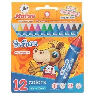 Horse 12 Colors Regular Size Wax Crayons 1 Box by Horse